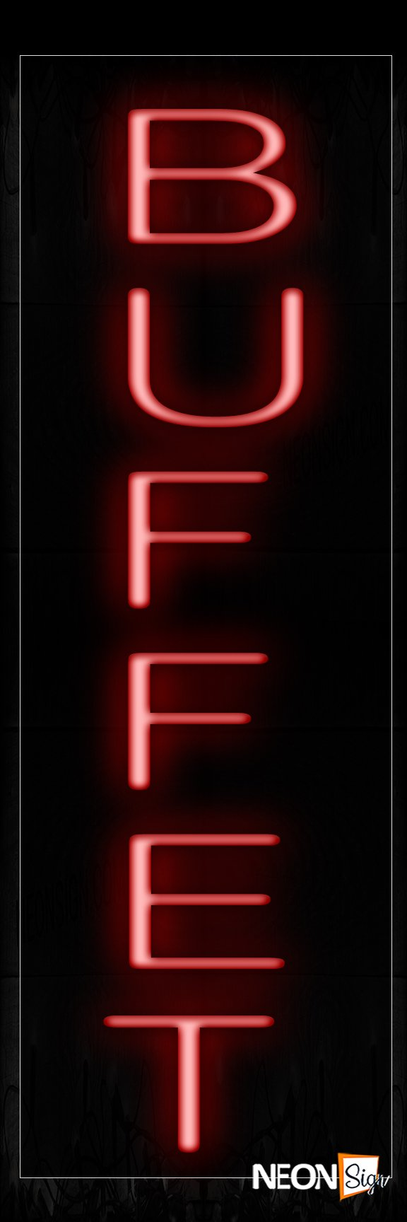 Image of 12207 Buffet In Red (Vertical) Neon Signs_8x24 Black Backing