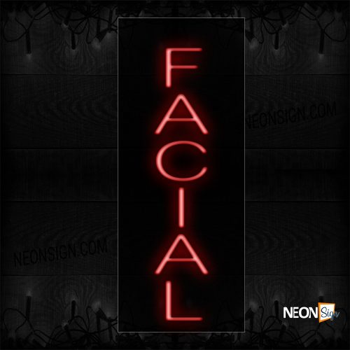 Image of 12231 facial with vertical border neon sign_8x24 Black Backing