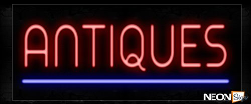 Image of 12353 Antiques With Blue Line Neon Sign_10x25 Black Backing