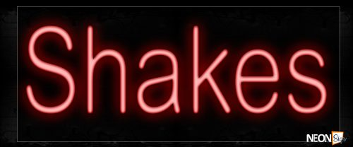 Image of 12396 Shakes In Red Neon Signs_10x24 Black Backing
