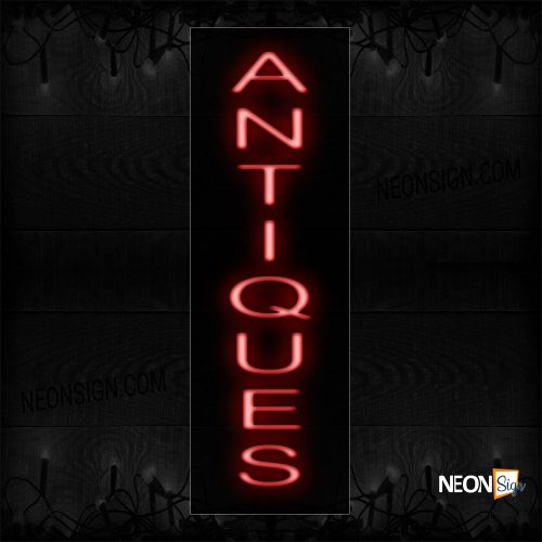 Image of 12408 Antiques In Red (Vertical) Neon Sign_8x27 Black Backing