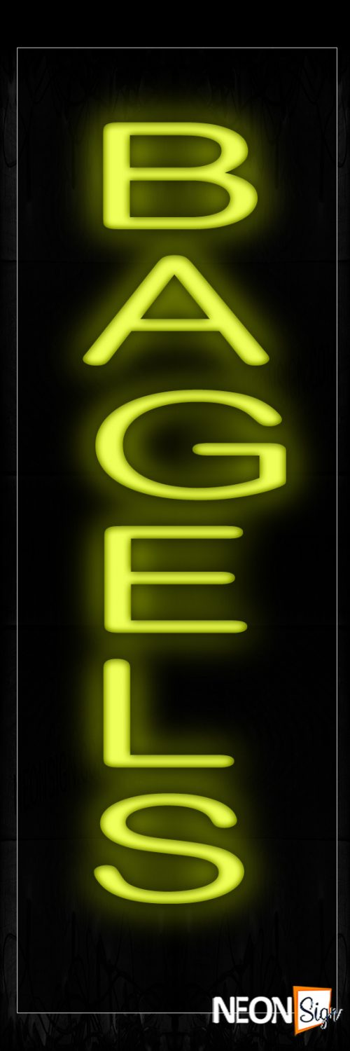 Image of 12411 Bagels In Yellow (Vertical) Neon Signs_10x24 Black Backing