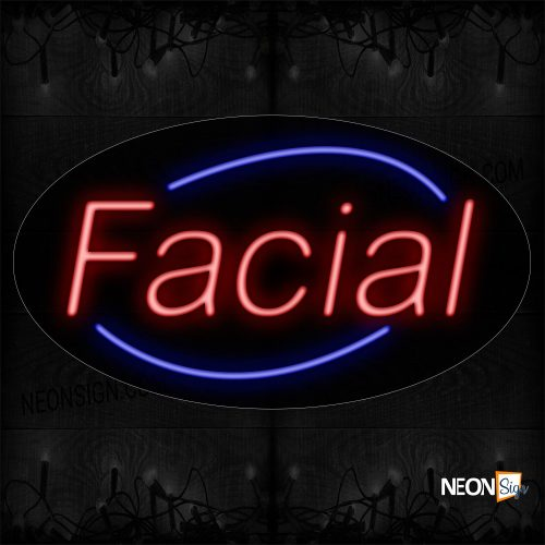 Image of 14001 Facial With Arc Border Neon Signs_17x30 Black Backing