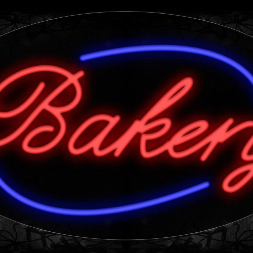 Image of 14023 Bakery With Circle Border Neon Signs_17x30 Contoured Black Backing