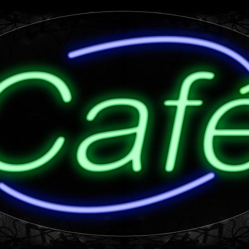Image of 14028 Cafe With Blue Arc Border Neon Signs_17x30 Contoured Black Backing
