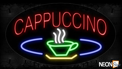 Image of 14029 Cappuccino With Coffee Glass Neon Signs_17x30 Contoured Black Backing