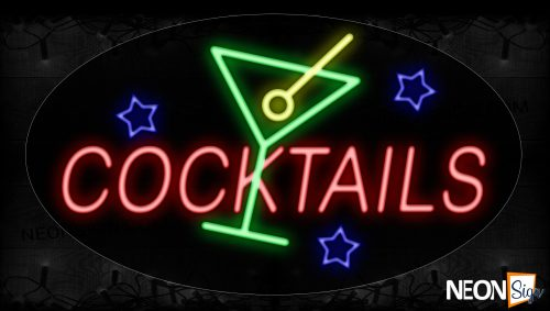 Image of 14034 Cocktails With Glass Wine Neon Signs_17x30 Contoured Black Backing