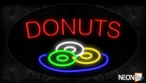 Image of 14036 Donuts With 3 Donuts On Ellipse Traditional Neon_17x30 Contoured Black Backing