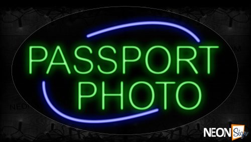 Image of 14060 Passport Photo With Blue Arc Border Neon Signs_17x30 Contoured Black Backing