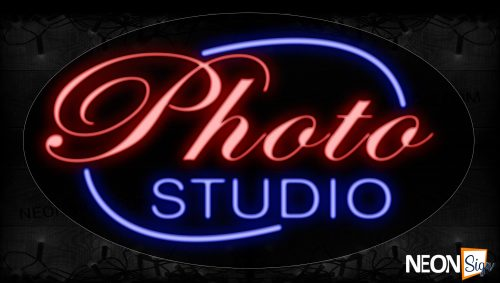Image of 14067 Photo Studio With Circle Border Neon Signs_17x30 Contoured Black Backing