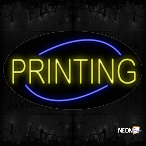 Image of 14069 Printing In Yellow With Blue Arc Border Neon Signs_17x30 Contoured Black Backing