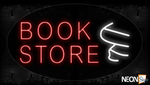 Image of 14090 Bookstore With Book Logo Neon Signs_17x30 Contoured Black Backing