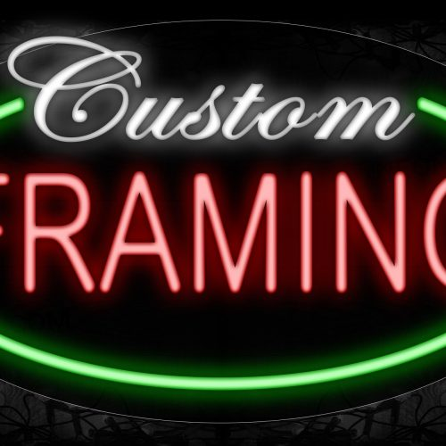 Image of 14102 Custom Framing With Green Oval Border Neon Signs_17x30 Contoured Black Backing