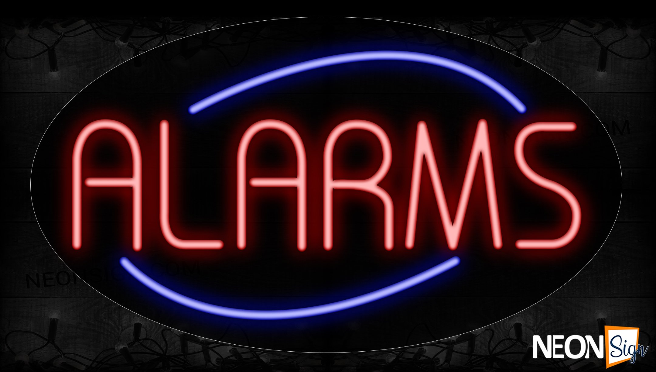 Image of 14137 Alarms With Circle Border Neon Signs_17x30 Contoured Black Backing