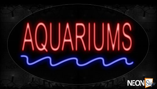 Image of 14139 Aquariums In Red With Blue Wave Lines Neon Sign_17x30 Contoured Black Backing
