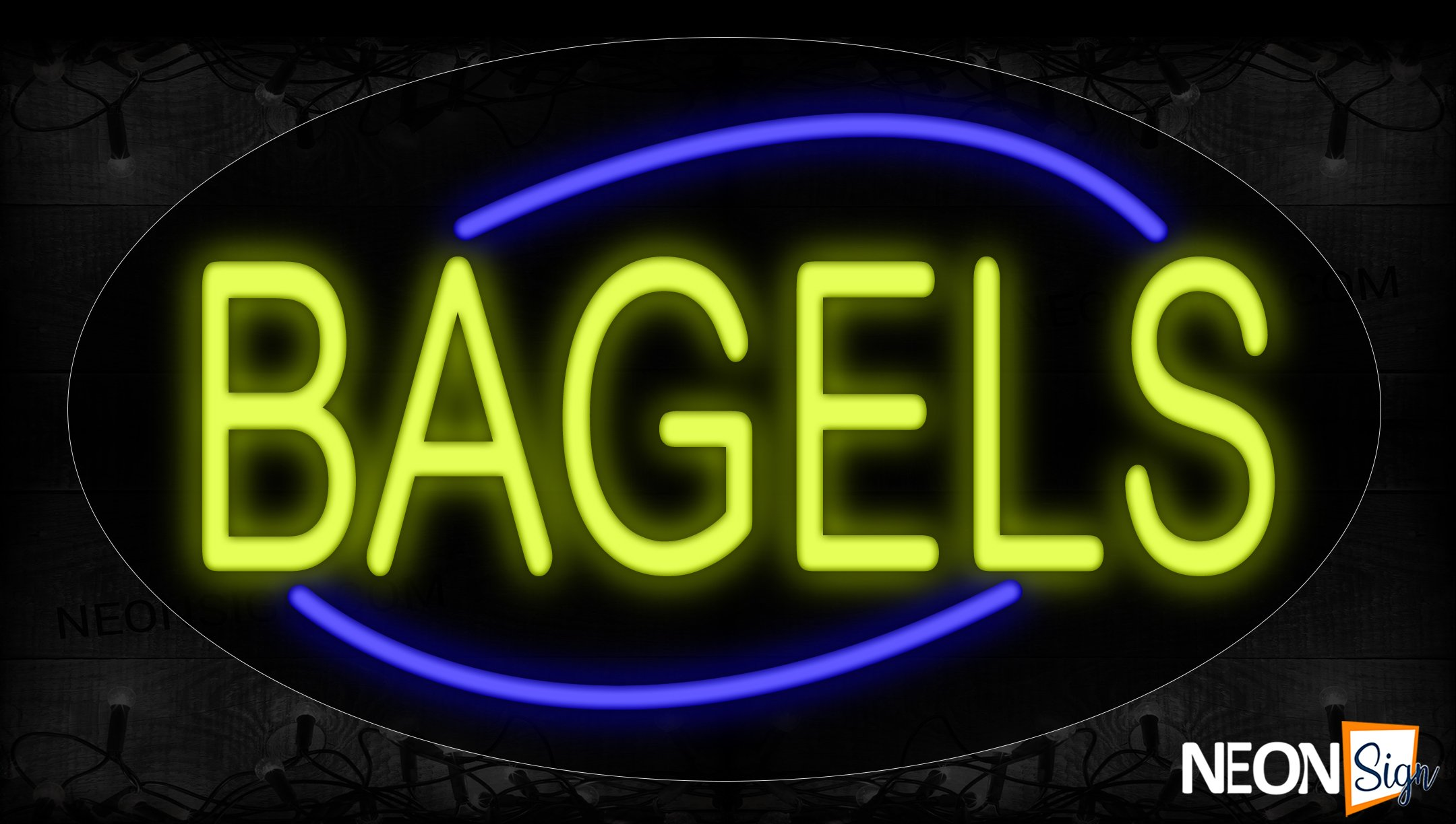 Image of 14144 Bagels With Curve Line Neon Signs_17x30 Contoured Black Backing