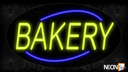 Image of 14147 Bakery With Arc Border Neon Signs_17x30 Contoured Black Backing