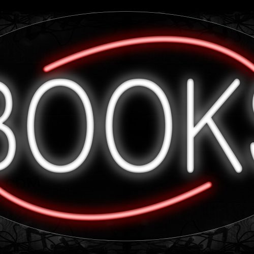 Image of 14157 Books In White With Red Arc Border Neon Signs_17x30 Contoured Black Backing