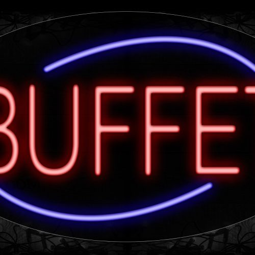 Image of 14163 Buffet With Arc Border Neon Signs_17x30 Contoured Black Backing