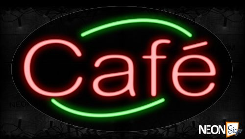 Image of 14167 Cafe With Arc Border Neon Signs_17x30 Contoured Black Backing