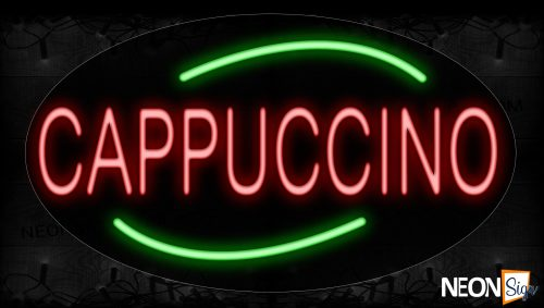 Image of 14169 Cappuccino With Green Arc Border Led Bulb Sign_17x30 Contoured Black Backing