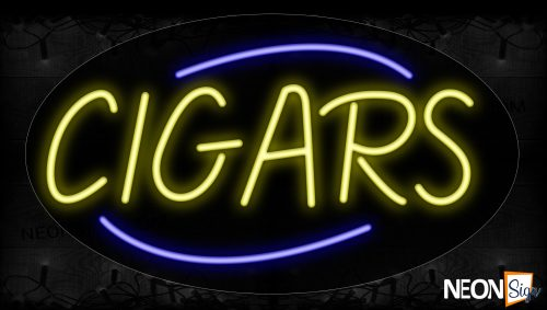 Image of 14176 Cigars In Yellow With Blue Arc Border Neon Signs_17x30 Contoured Black Backing