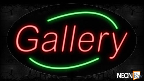 Image of 14210 Gallery In Red With Green Arc Border Neon Signs_17x30 Contoured Black Backing