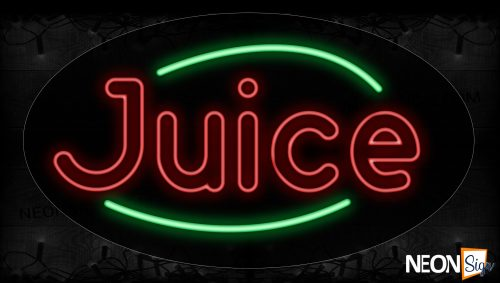 Image of 14230 Double Stroke Juice In Red With Green Arc Border Neon Signs_17x30 Contoured Black Backing