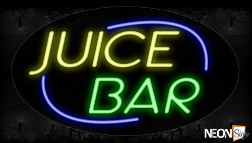 Image of 14231 Juice Bar With Blue Arc Border Neon Signs_17x30 Contoured Black Backing