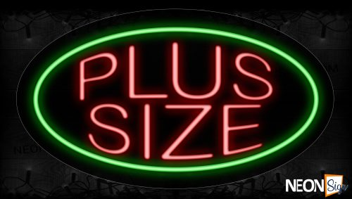 Image of 14276 Plus Size With Circle Border Neon Signs_17x30 Contoured Black Backing