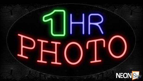 Image of 14292 1 Hr Photo Neon Signs_17x30 Contoured Black Backing
