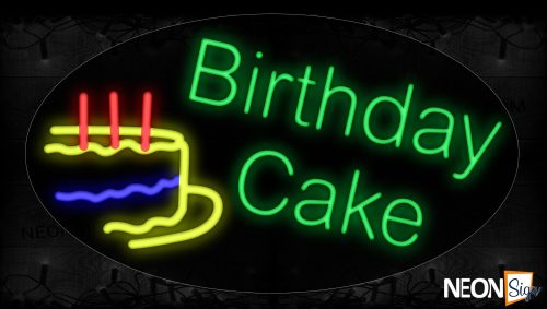 Image of 14327 Birthday Cake Parallel With Cake & Candles Images Border Neon Signs_17x30 Contoured Black Backing