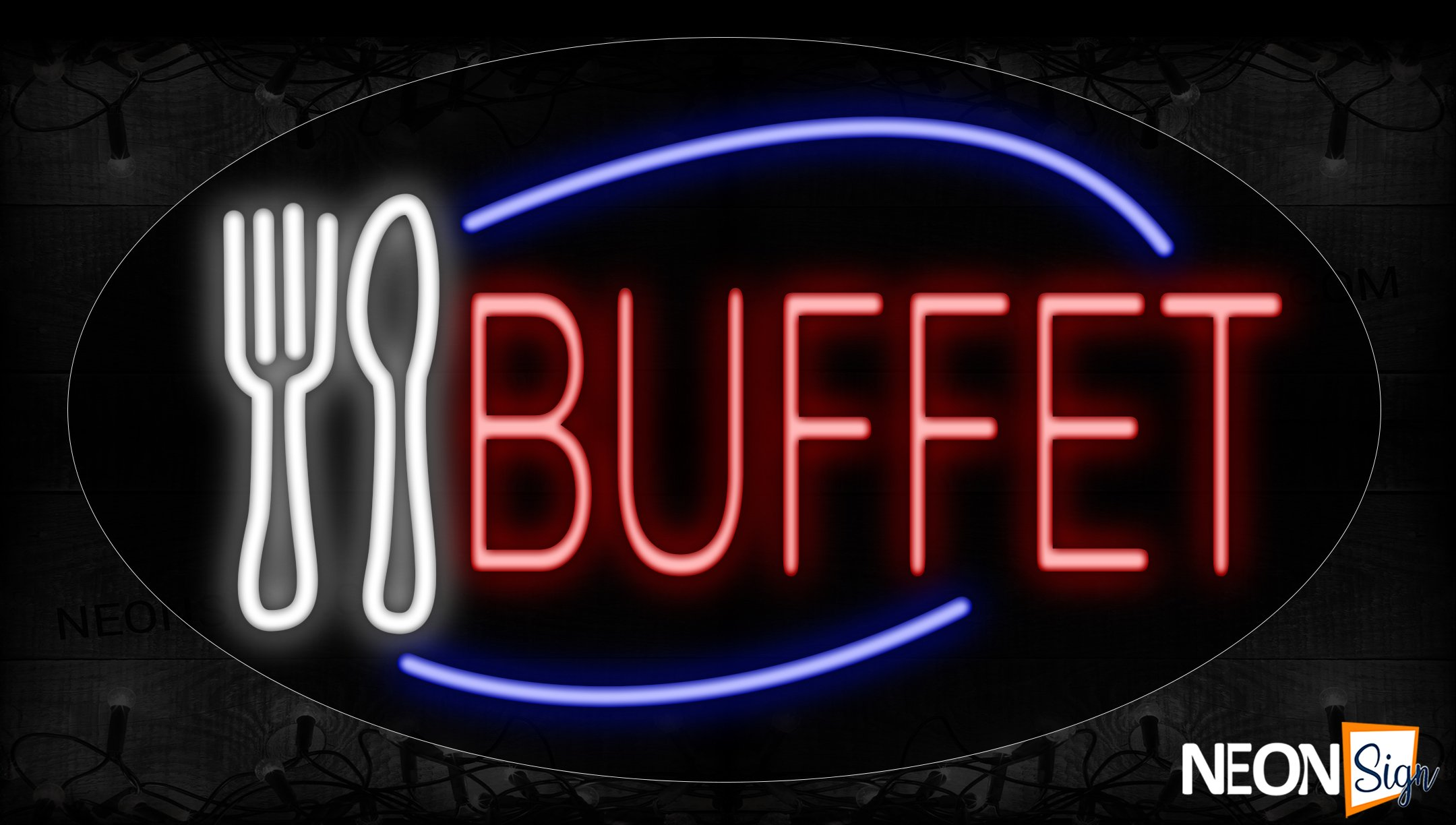 Image of 14330 Buffet With Spoon And Fork On An Ellipse Traditional Neon_17x30 Contoured Black Backing