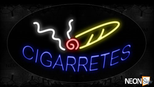 Image of 14334 Cigarettes With Smoke Neon Signs_17x30 Contoured Black Backing