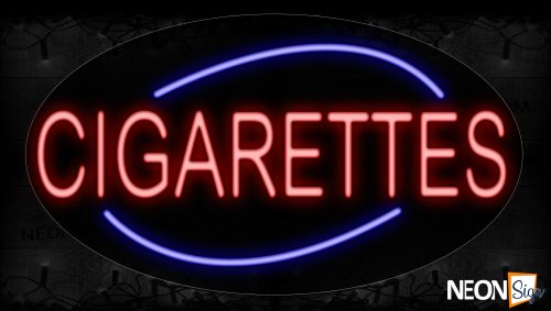 Image of 14335 Cigarettes In Red With Blue Arc Border Neon Signs_17x30 Contoured Black Backing