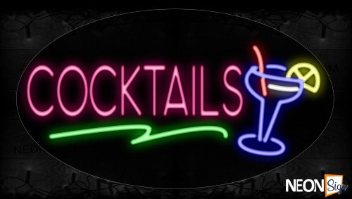 Image of 14336 Cocktails With Wine Glass Neon Signs_17x30 Contoured Black Backing