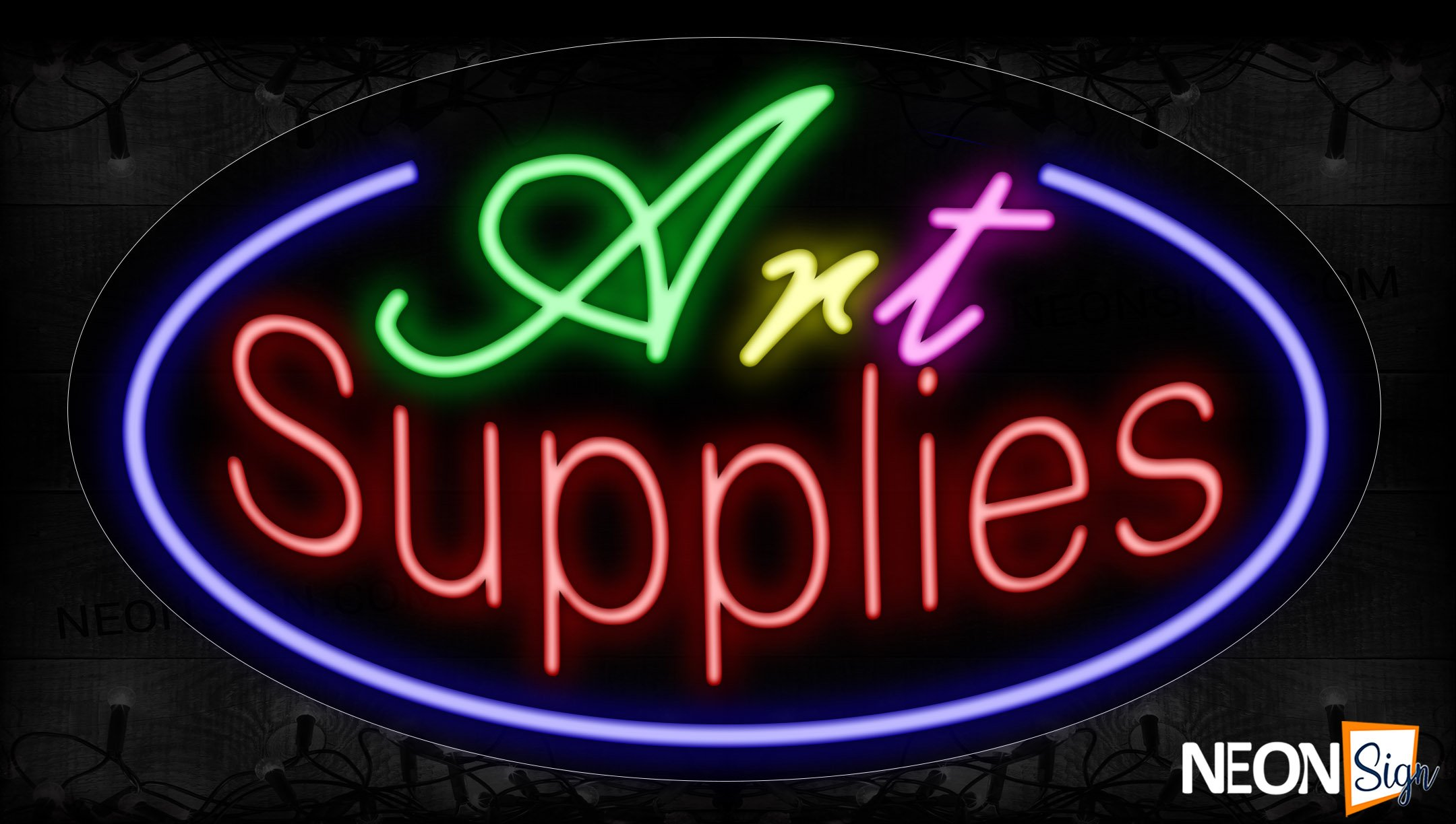 Image of 14379 Art Supplies With Circle Border Neon Signs_17x30 Contoured Black Backing