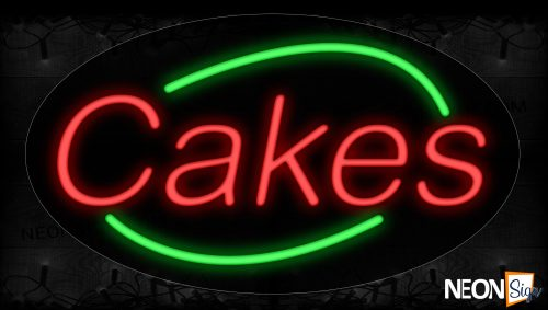 Image of 14383 Cakes In Red With Green Arc Border Neon Signs_17x30 Contoured Black Backing