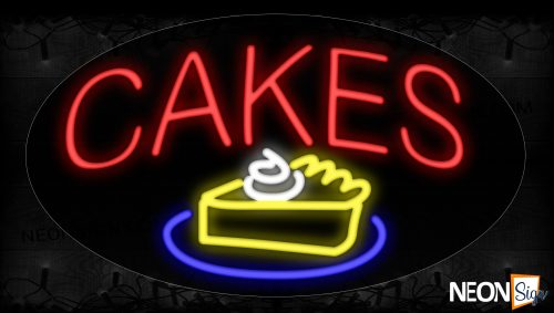 Image of 14384 Cakes with slice cake logo Neon Signs_17x30 Contoured Black Backing
