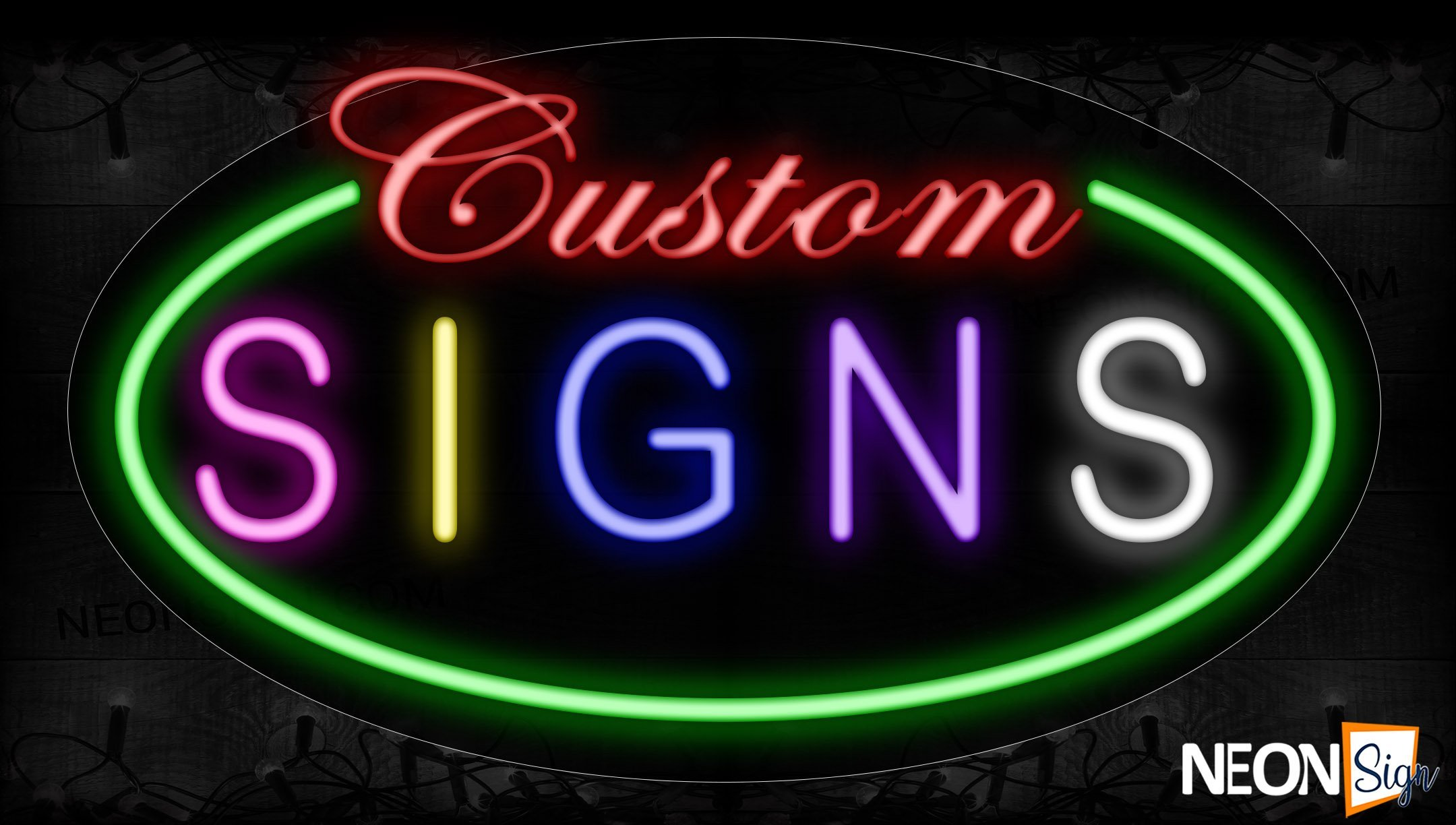 Image of 14402 Custom Signs With Green Oval Border Neon Signs_17x30 Contoured Black Backing
