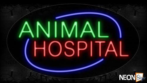 Image of 14414 Animal Hospital With Blue Arc Border Neon Sign_17x30 Contoured Black Backing