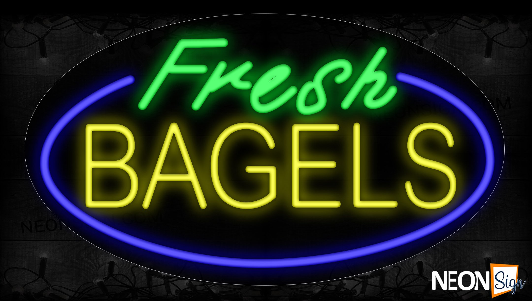 Image of 14423 Fresh Bagels With Blue Oval Border Neon Signs_17x30 Contoured Black Backing