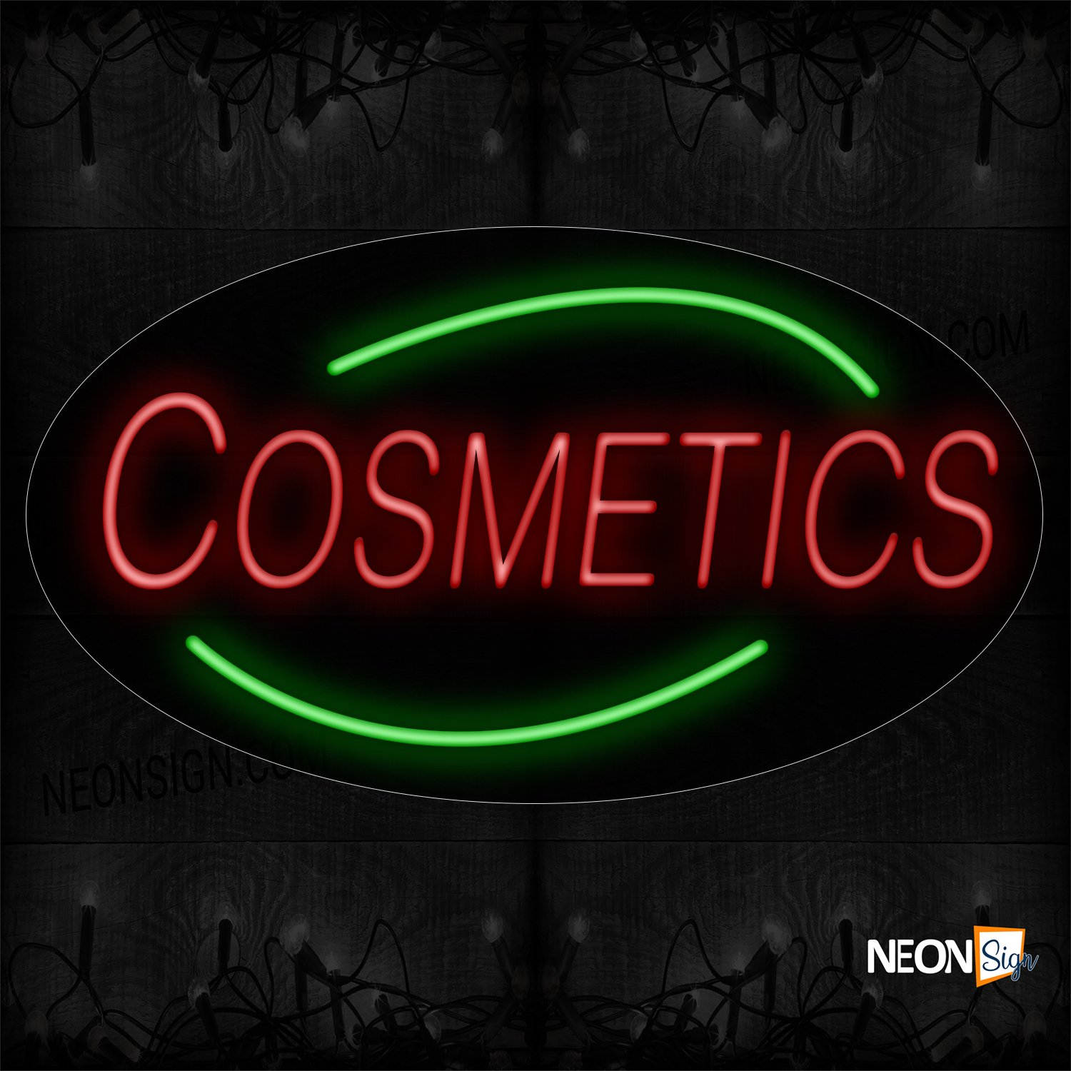 Image of 14439 Cosmetics With Curve Line Neon Signs_17x30 Contoured Black Backing