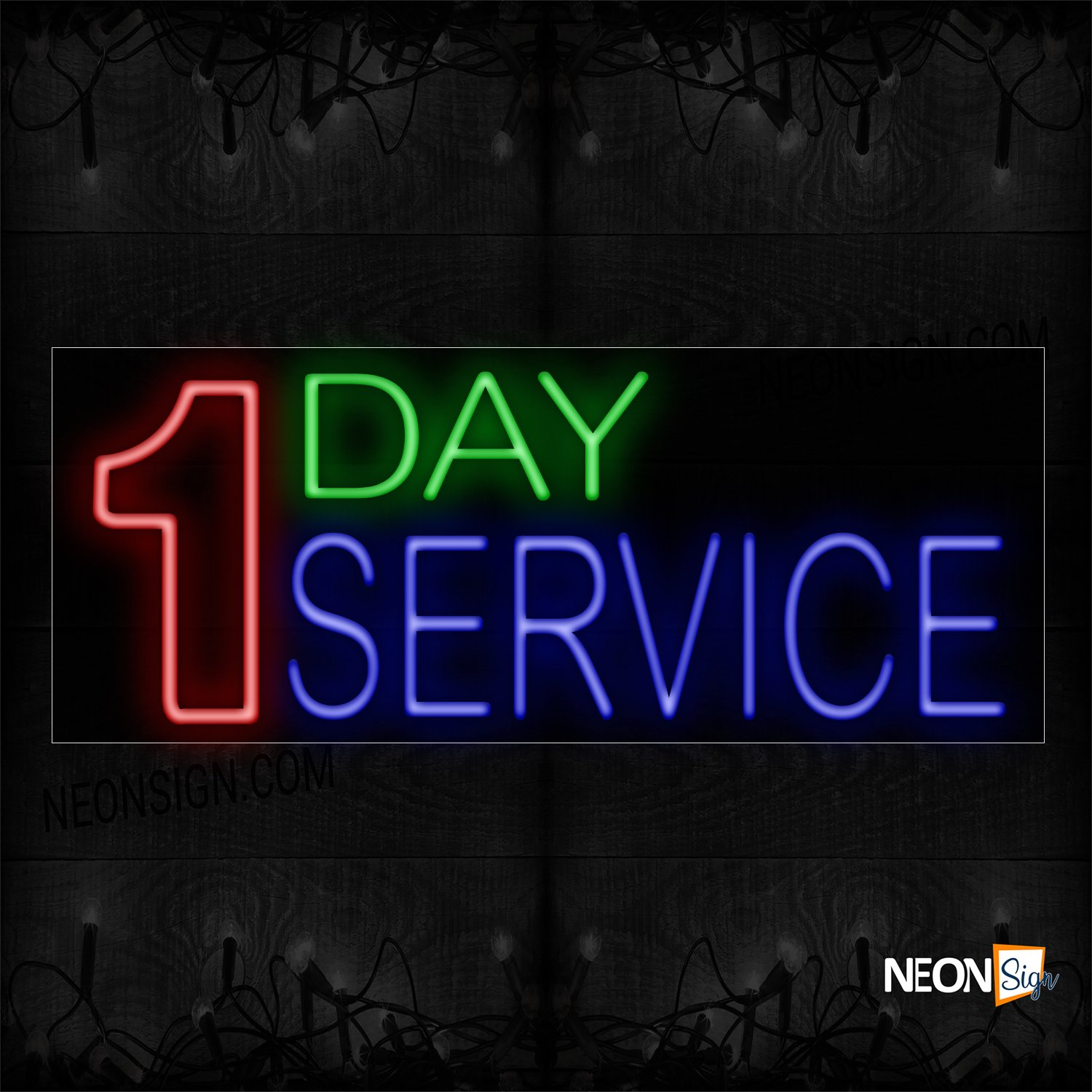 Image of 14475 1 Day Service Neon Signs_13x32 Black Backing