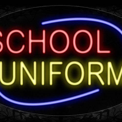 Image of 14488 School Uniforms With Arc Border Neon Signs_17x30 Contoured Black Backing