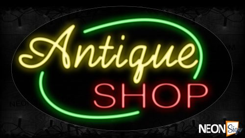 Image of 14491 Antique Shop With Green Arc Border Neon Sign_17x30 Contoured Black Backing