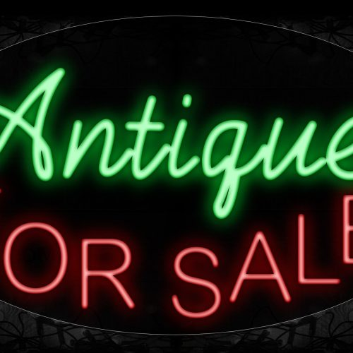 Image of 14492 Antiques For Sale Neon Sign_17x30 Contoured Black Backing