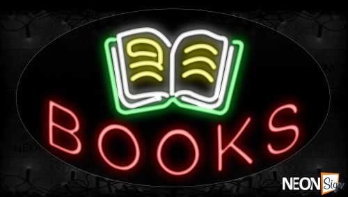 Image of 14497 Books With Logo Neon Signs_17x30 Contoured Black Backing