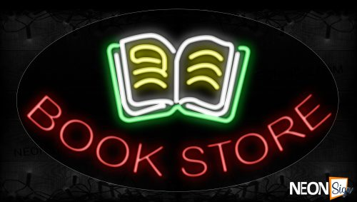 Image of 14498 Bookstore With Open Book Image Arc Border Neon Signs_17x30 Contoured Black Backing