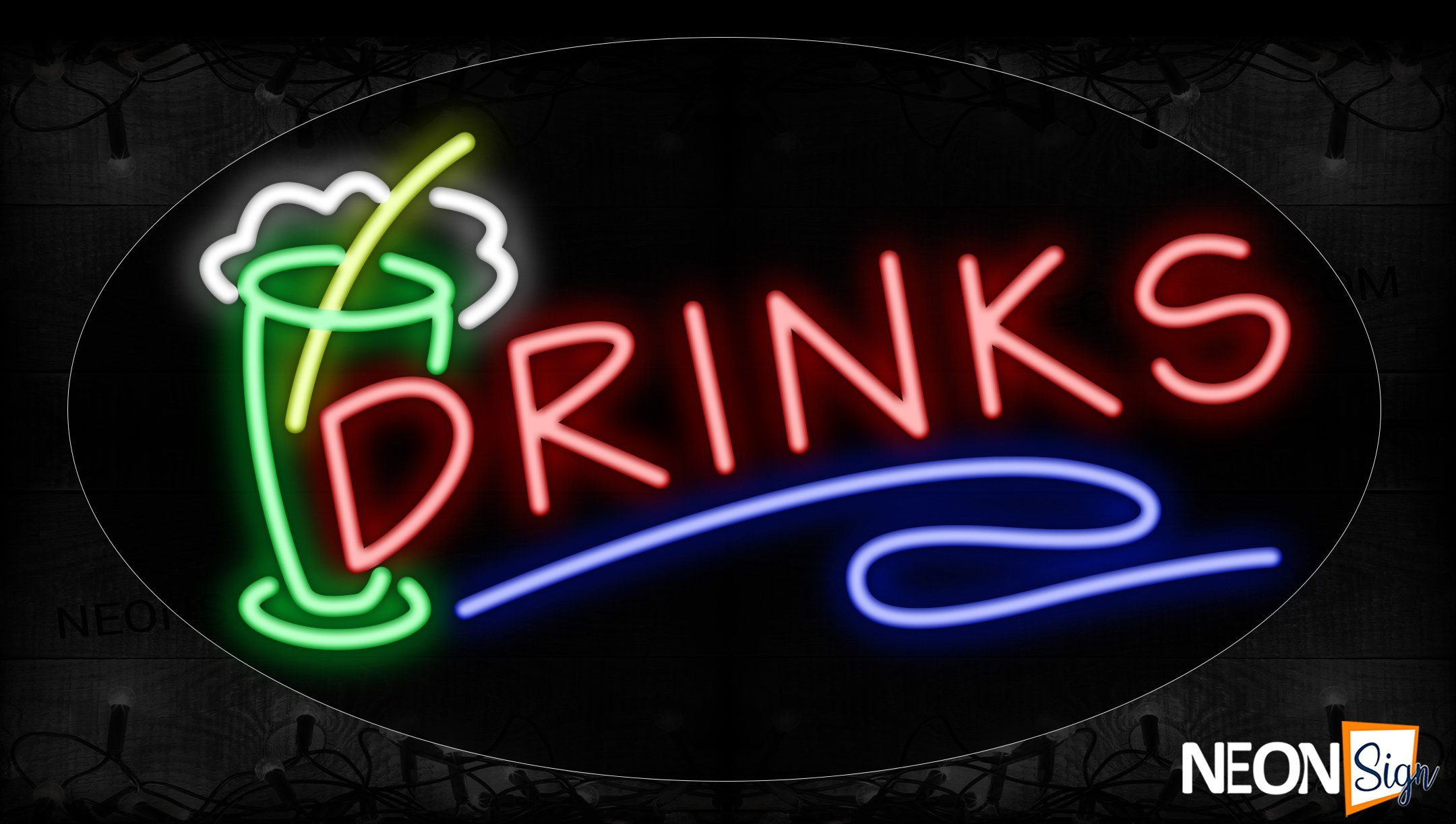 Image of 14515 Drink With Blue Line And Glass Neon Signs_17x30 Contoured Black Backing